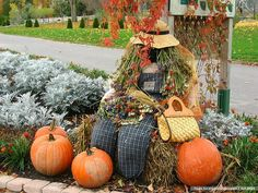 Bag lady scarecrow