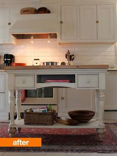 """""""Clever repurposing of a sofa table (with added height and butcher block top) to make a custom island in a small kitchen. Via Apartment Therapy.""""  Instead of butcher block, put on granite and use for baking? For smaller kitchen put on wheels"""