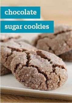 Chocolate Sugar Cookies – Balls of chocolate dough are rolled in sugar and baked into fudgy cookies with great homemade flavor.