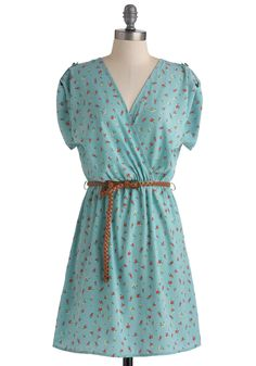 Songwriting Inspiration Dress - Blue, Red, Green, Polka Dots, Floral, Casual, A-line, Short Sleeves, Spring, Mid-length, Belted, Yellow, Pearls