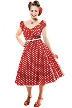 Collectif Clothing - 50s Dolores Doll dress Red White polka swing dress Minnie Dress!! NEED
