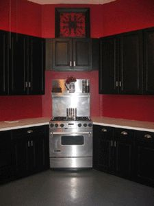 Red and black Kitchen Idea