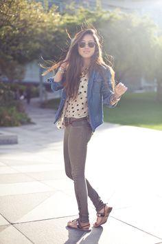 Vintage denim shirt, Lush polka dot top, Blank NYC skinnies, Mink Pink sunglasses