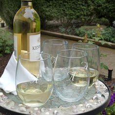 Monogrammed Stemless Wine Glasses