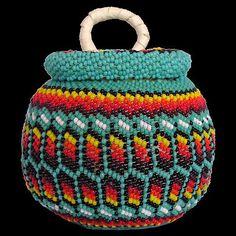 Navajo Hand Beaded Tohono O' Odham Basket - Darlene Eddie  -   twinrocks.com
