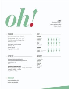 Clean clear design, simple formatting, nice overall cv / curriculum vitae / resume style  Personal Identity by Joan Oh, via Behance