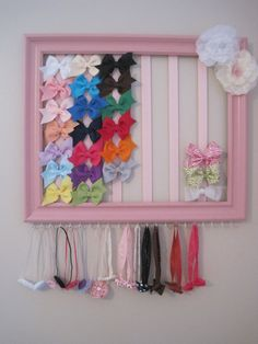 headband  bow holder out of painted picture frame, ribbon, and hooks