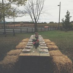 A Daily Something's countryside gathering with haystack seating — definitely a supper I'd like to attend. #MaggiePate #InksandThread