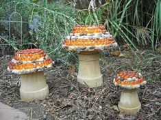 Mushrooms ~ flower pots & mosaic