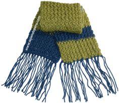 Instrucciones de la bufanda tejida con el telar rectangular en punto retorcido