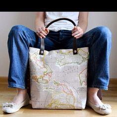 diaper bags, map bag, fabric tote, map tote, world maps, big bags, tote bags, school bags, map print