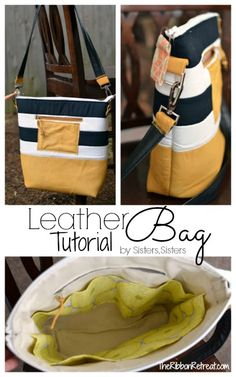 Sew a Striped Leather Bag – Free Tutorial by Sisters, Sisters  + Leather Sewing Tips from Sam Lewis  #sewing