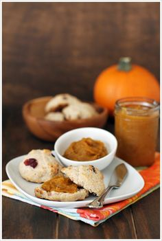 Pumpkin Butter with Cinnamon Cranberry Biscuits