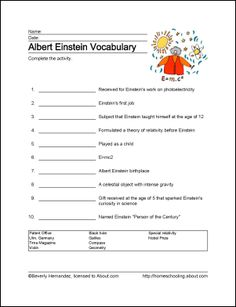 albert einstein vocab words essay Albert einstein is known as the father of modern physics and the inventor of the theory of relativity the theory of relativity is what he is probably most well known for the einstein name has become synonymous with the word genius, and is generally used as a compliment for people with high intelligence.