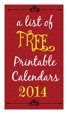 FREE Calendar Printables for 2014!