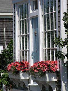 pretty white window and flower box