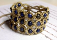 Crochet Jewelry Bohemian Bracelet or Cuff Boho Chic  by GlowCreek