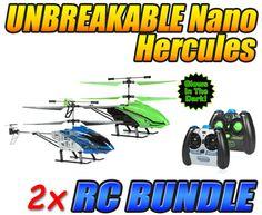 Nano Hercules and Glow in the Dark Nano Hercules Unbreakable 3.5CH IR RC Helicopter Bundle