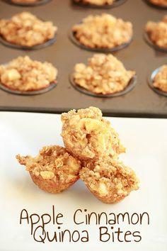 Apple Cinnamon Quinoa Bites and 25 Quinoa Dessert Recipes - MyNaturalFamily.com #quinoa #recipe