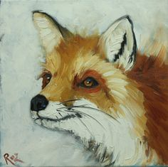 Fox painting 26 12x12 inch original animal portrait oil by RozArt