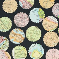 vintage craft supplies- 100 world atlas map paper circle punches. $4.00, via Etsy.