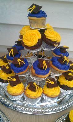 Graduation cupcakes graduation cupcakes, frost color, cupcak black, graduat cupcak, school colors