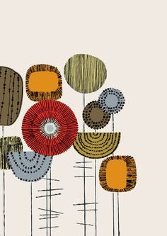 Embroidery Flowers Placement Multi, limited edition giclee print by Eloise Renouf $25