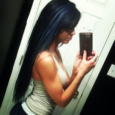 black hair with blue streaks