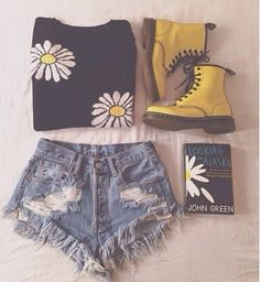"""Daisy Outfit: daisy shirt, jean short cutoffs, yellow DocMartins, and of course a book--""""Looking For Alaska"""" by John Green"""