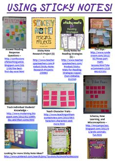 Information on Using Sticky Notes In the Classroom! (In-service materials are available for free in this blog post.)