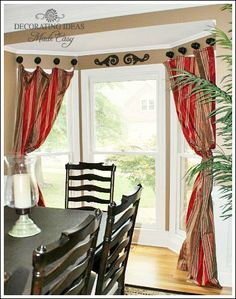 Bay Window Treatments That Won't Break Your Budget - unique drapery hardware to make this treatment cheap!!