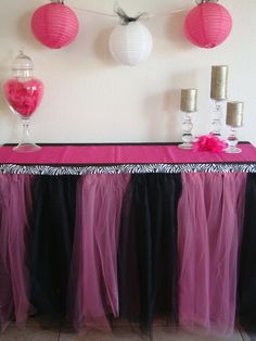 Pink and Black Zebra Table Tutu Skirt.... MUST DO THIS FOR NENES BABY SHOWER.. pink, zebra princess girl baby shower