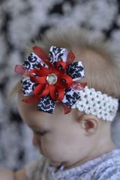 Christmas bow - black, white, red.