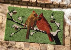 Holiday Cardinals Front Door Mat #HomefortheHolidays