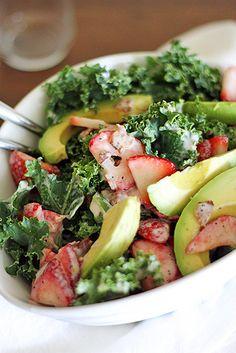 Strawberry-Avocado Kale Salad with Bacon Poppyseed Dressing via taste-for-adventure.tablespoon.com