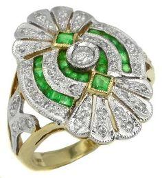 Art Deco Emerald Diamond 14k Gold Ring. @designerwallace