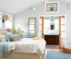 Sliding doors are a gorgeous way to add privacy and visual interest to the master bedroom and bath! More suite ideas: http://www.bhg.com/rooms/bedroom/master-bedroom/master-bedroom-ideas/?socsrc=bhgpin092713masterbedroom&page=14