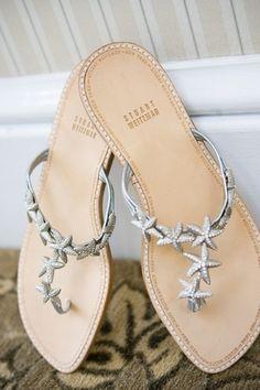 Starfish wedding flats / thongs / shoes / silver