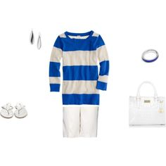 casual, blue sweater, white shorts