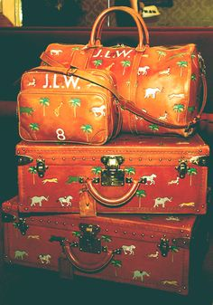 Custom Louis Vuitton luggage made for Darjeeling Limited.