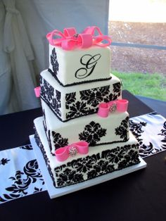 Damask Square Wedding Cake - 4 tier, square, fondant cake with a damsk style design. The damask print was stenciled on with black buttercream.