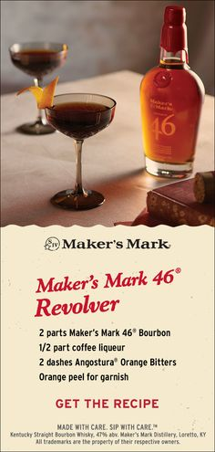 The Maker's Mark 46® Revolver is a new spin on the Manhattan. This bourbon and coffee liqueur cocktail is rich and delicious with bright pops of orange that recall its elegant inspiration. Ingredients: 2 parts Maker's Mark 46® Bourbon, 1/2 part coffee liqueur, 2 dashes Angostura® Orange Bitters, Orange peel for garnish. Click through to put it together and for expert tips.
