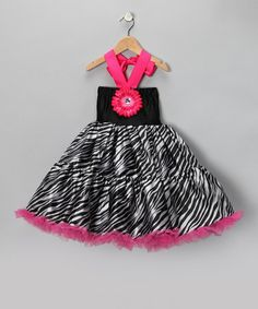 Take a look at this Hot Pink Zebra Halter Dress - Girls by Girly Flair on #zulily today!