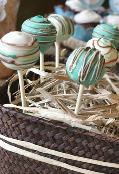 Shabby Chic Western Wedding Shower cake pops!  See more party ideas at CatchMyParty.com!