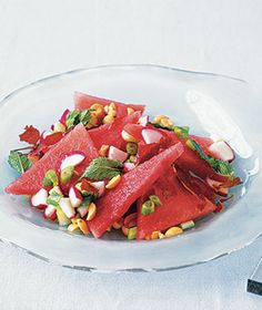 Watermelon Salad With Mint and Crispy Prosciutto from @lisa Choe Simple