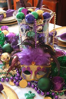Mardi Gras tablescape decorated with purple, green & gold treasures.