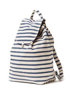 Baggu Sailor Stripe Recycled Cotton Canvas Eco-Backpack - Made of recycled cotton canvas #ecofriendly #gogreen