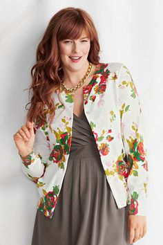 Lands' EndWomen's Plus Size Supima Fine Gauge Floral Print Cardigan..hate the taupe.