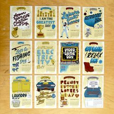 2013 Calendar of Silly Holidays Postcards. $12.00, via Etsy.--Great gift idea!