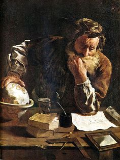 Domenico-Fetti Archimedes 1620  was a Greek mathematician, physicist, engineer, inventor, and astronomer.[1] Although few details of his life are known, he is regarded as one of the leading scientists in classical antiquity. Among his advances in physics are the foundations of hydrostatics, statics and an explanation of the principle of the lever. He is credited with designing innovative machines, including siege engines and the screw pump that bears his name.